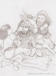 Thorin = majestically exhausted. Fili and Kili = majestically wild and crazy.