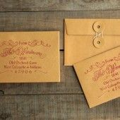 """Elegant return address stamp for wedding invites & save the dates. Prettier than handwritten. 1.5"""" x 2.5"""" with a wooden handle."""