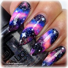 Image viaCheck out this gallery of galaxy nail art if you need inspiration for your next manicure!Image viaSimple, Realistic Galaxy Nails Tutorial, featuring JINsoon Obsidian - This is Cute Acrylic Nails, Cute Nails, Pretty Nails, Glittery Nails, Hair And Nails, My Nails, Long Nails, Galaxy Nail Art, Space Nails