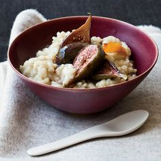 Soy Milk-Arborio Rice Pudding with Poached Figs | The arborio rice in Joe Bastianich's lightly sweet pudding provides complex carbohydrates for energy.