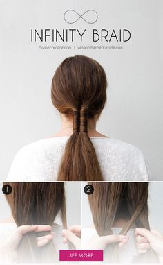 Add a personal twist to the low ponytail trend with a totally boho-chic infinity braid. #InfinityBraid #Hairstyles Beautiful Hairstyles, Cool Hairstyles For Girls, Top Hairstyles, Braided Hairstyles, Low Ponytails, Longer Hair, Hairdos, Updos, Hair Tutorials
