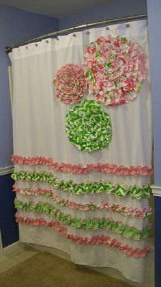 Shower Curtain Custom Made Designer Fabric Ruffles and Flowers Candy Pink, Chartreuse Green, White Damask Stripes Chevron