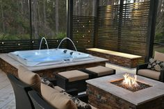Hot Tub Pergola, Hot Tub Garden, Hot Tub Backyard, Jacuzzi Outdoor, Outdoor Spa, Swimming Pools Backyard, Jacuzzi Patio Ideas, Firepit Ideas, Sunken Hot Tub