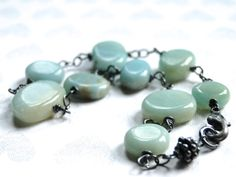 Holiday SALE Amazonite Jewelry Amazonite Stone Bracelet Sterling Silver Gemstone Bracelet Gift for Her Accessories Gift Box (38.00 USD) by wulfgirl