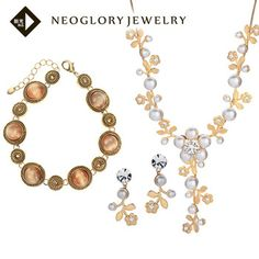 Neoglory Opal Vintage Bracelet Fashion Statement Pearl Jewelry Set Necklace & Earrings for Women Christmas Present   2014