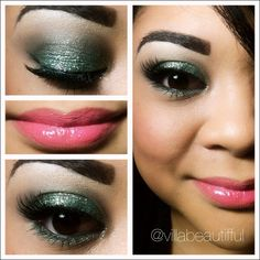 green glitter eyes with Mac Cosmetics Viva Glam Nicki Lipstick  #makeup
