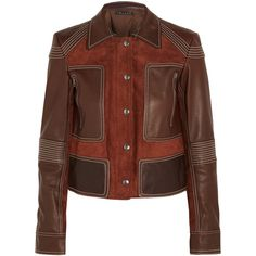 Theory - Zandita Leather-paneled Suede Jacket (2.690 DKK) ❤ liked on Polyvore featuring outerwear, jackets, brick, tailor leather jacket, urban leather jackets, brown suede jacket, theory jacket and 100 leather jacket