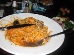 Seafood Diavolo - Linguini Pasta with clams,mussels,calamari,shrimp and salmon served in a spicy tomato sauce Tonys Town Square Restaurant, Clam Pasta, Spicy Tomato Sauce, Calamari, Mussels, Disney Food, Clams, Food Pictures, Shrimp