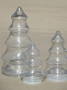 Lot 7 Vintage Clear CHRISTMAS TREES Anchor Hocking Glass Candy ...