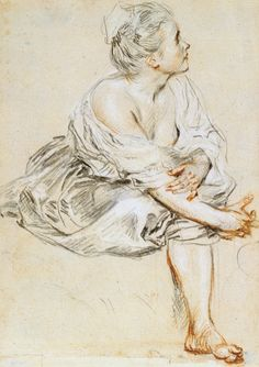 Antoine Watteau, 1684-1721, French, Seated Young Woman, c.1719. Black, red and white chalk on buff paper, 25.5 x 17.2 cm. The Morgan Library and Museum, New York. Rococo.