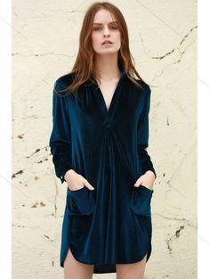 Loose Velvet Shirt Dress - CADETBLUE L Mobile