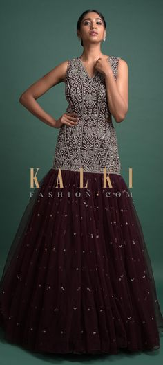 Wine Mermaid Cut Gown Hand Crafted In Net With Embellished Geometric Motifs Online - Kalki Fashion Reception Gown, Wine Tags, Mermaid Gown, V Cuts, Party Wear, Evening Gowns, Neckline, Free Shipping, Link