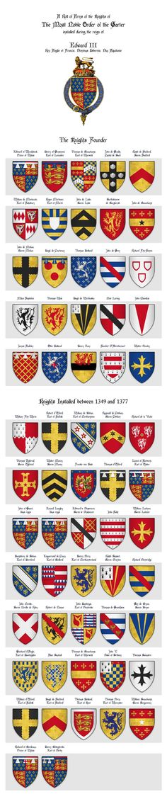 Roll of Arms of the Knights of the Garter installed during his reign of Edward III, King of England (my work, by the way)