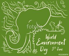 World Environment Day Design with Animals in Line Style