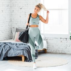 How fun is our new Alee Seamless Bra & Legging Workout Set? The easy stretch fabric and trendy seamless design makes our set a must have for this years Workout Clothing! It features a fitted bra with an elastic and a high waisted leggings. Cute workout outfit, Cute matching sets, Casual Outfit Ideas, Cute Casual Outfits, Cute Outfits