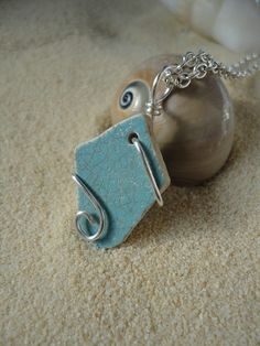 Drilled wire wrapped blue beach pottery by atreasurefromthesea, $18.99