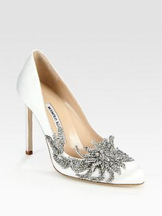 Manolo Blahnik - Embellished Satin Point Toe Pumps - Saks.com CAN I PLEASE HAVE A PAIR OF THE GORGEOUS SHOES THAT KRISTEN STEWART TRIED TO KILL?!?!?!? I know it was part of the movie and all... but that hurt to watch! I want to save those poor shoes!
