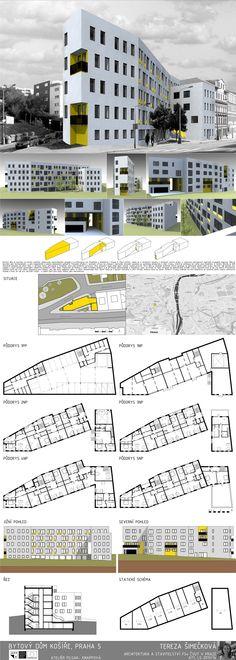 Studentský projekt. LS 2013/2014. FSv ČVUT v Praze. Praha, Facade Architecture, Floor Plans, Floor Plan Drawing, House Floor Plans