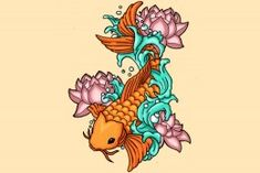 A koi swimming with lotus flowers symbolizes beauty that comes out of hard circumstances.
