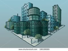 promising quarter   Image of social and business quarter in the future can be used to illustrate the socio-cultural development, ofissnoy life, and environmental problems of the city. http://www.shutterstock.com/g/Og+Tatiana?rid=2220188