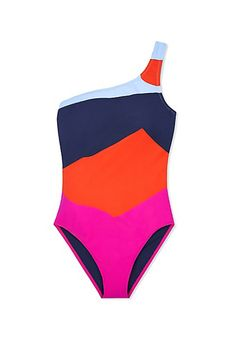 Shop the top swimsuit trends of Summer 2016 | colorblock one shoulder one piece by @toryburch