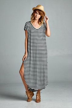 addison striped maxi dress