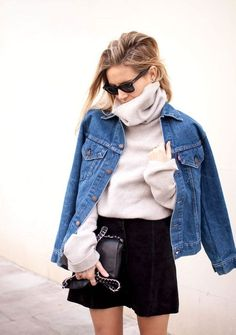 Nice 40 Awesome Winter Outfits Ideas With Denim Jacket. More at http://trendwear4you.com/2018/01/13/40-awesome-winter-outfits-ideas-denim-jacket/