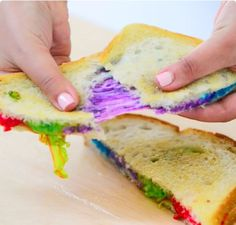 Learn to make your dreams come true with this magical, yet easy rainbow grilled cheese recipe. Rainbow Grilled Cheese, Grilled Cheese Recipes, Bread Recipes, Grilled Cheeses, Baked Cheese, Sandwich Recipes, Cute Food, Good Food, Yummy Food
