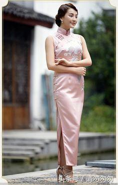 Asian Woman, Asian Girl, Asian Ladies, 70s Fashion, Asian Fashion, Blouse Dress, Bodycon Dress, Chinese Gown, Mandarin Dress