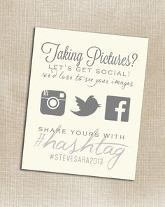 Hashtag for wedding pics... cool idea ; ) //Instagram - Wedding Instagram Facebook Twitter White Hashtag Print - Printable - Digital JPG File any size on Etsy, $6.00