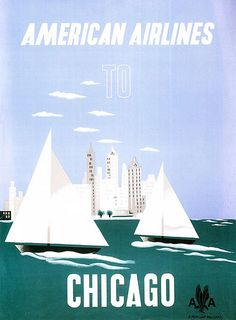 Vintage Travel Poster - Chicago - American Airlines * by Edward McKnight Kauffer (1950)