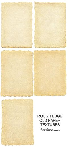 Craft, scrapbooking, shadow box: old paper rough edges (set of to use in background of shadow box or scrapbook page to write a story on or transpose a handwritten letter onto Old Paper, Vintage Paper, Paper Background, Textured Background, Photoshop, Tampons, Printable Paper, Tool Design, Clipart