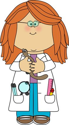 Girl Scientist with Worm Clip Art - Girl Scientist with Worm Vector Image Science Party, Science Fair, Science For Kids, Art For Kids, Science Lab Decorations, Detective Theme, Science Clipart, School Clipart, Clip Art