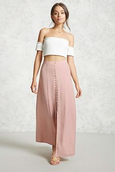 Forever 21 Contemporary - A satin maxi skirt featuring a button-down front, center-front slit, and an interior lining.