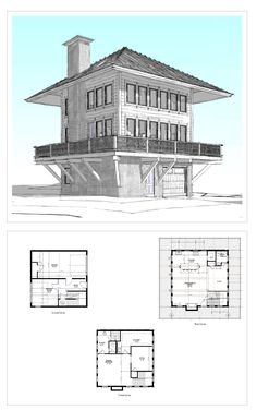 baumhaus For the house. My House Plans, Small House Plans, House Floor Plans, Cabin Homes, Log Homes, Tower House, Small House Design, Cabins In The Woods, Future House