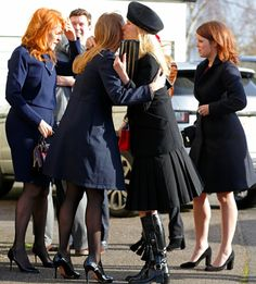 Sarah Ferguson,  Princess Eugenie and Princess Beatrice attend a memorial service for Miles Frost