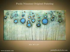 Painting, Gold, Bronze, Rust, Blue, Ready to Hang by Paula Nizamas ...