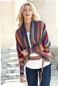 Kaffe Fassett's gorgeous art knit cardigan is striped in dozens of tweeded, sun-drenched hues of pima. Handframed in a cocoon style, with a ribbed placket, exaggerated drop shoulders and rib-knit sleeves. Cotton Cardigan, Knit Cardigan, Modelos Fashion, Knitting Designs, Crochet Clothes, Pulls, Hand Knitting, Knitting Patterns, Knit Patterns