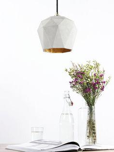 Concrete hanging lamp T3 lamp gold rare designer by GANTlights