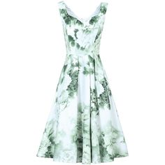 Jolie Moi Sweetheart Neck Printed Dress (£75) ❤ liked on Polyvore featuring dresses, light green, women, floral day dress, sleeveless floral dress, flared dresses, fit and flare dress and floral fit-and-flare dresses