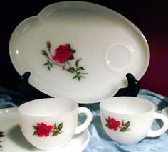 1950's Vintage Federal Glass 4 Piece OPAL Milk Glass Rosecrest Snack Set 2 Trays and 2 Coffee Tea Cups
