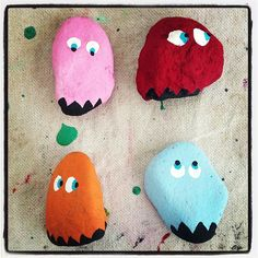 Rock painting - pac man ghosts... inky, blinky, pinky, clyde