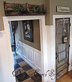 Love the shelf and sign above the doors, adds so much to a room!  And also another cute interior door switch, what a difference a door makes!
