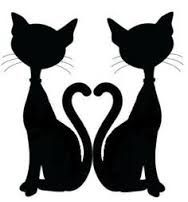 Idea for a door topper - the original clipart was a single cat silhouette and was not mine. I just did the mirror image of it to create the heart.SILHOUETTE ~ Add a collar with a pendant (star and heart) ~ Make a pair of mismatched earrings cats Black Cat Silhouette, Silhouette Clip Art, Silhouette Images, Silhouette Design, Pach Aplique, Cat Throw, Silhouette Online Store, Cat Tattoo, Tattoo Small