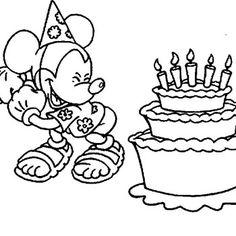 Coloriage mickey joyeux anniversaire : viens t'amuser gratuitement sur AncenSCP.com