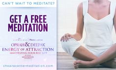 We are so excited to be embarking on this new meditation journey with you! Can't wait to meditate? Enjoy this free sample meditation: http://www.chopra.com/ccl-meditation/21dmc/free-stream.html
