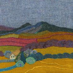 Giclee art prints and greetings cards taken from the Harris Tweed textile art made in Northumberland by textile artist Jane Jackson of Bright Seed Textiles Machine Embroidery Applique, Wool Applique, Hand Embroidery, Art Textile, Textile Artists, Textiles, Landscape Quilts, Fabric Houses, Harris Tweed