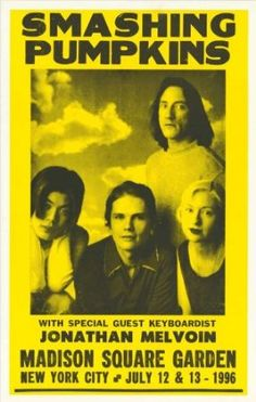 Jonathan Melvoin Concert Poster - Smashing Pumpkins (1996) Madison Square Garden New York City, (I saw them that year in atl)