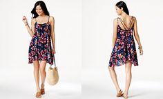 Macy's CityPlace  | Roxy Handkerchief-Hem Floral-Print Cover Up