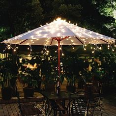 Add brilliant, beautiful illumination to your outdoor umbrella with the Solar Umbrella String Lights. These gorgeous, all-weather solar powered LED lights boast a warm white glow that will add a welcoming ambiance to any space.